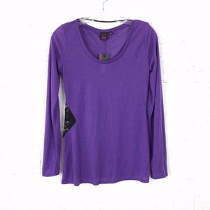 Material Girl Purple Long Sleeve Blouse NWT, S: M